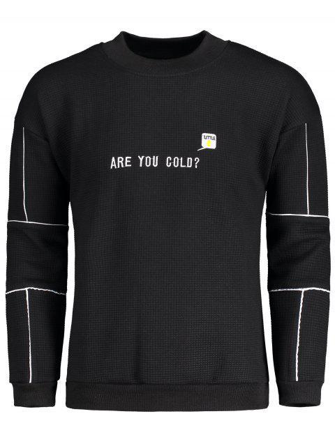 online Graphic Embroidered Mock Neck Sweatshirt - BLACK M Mobile