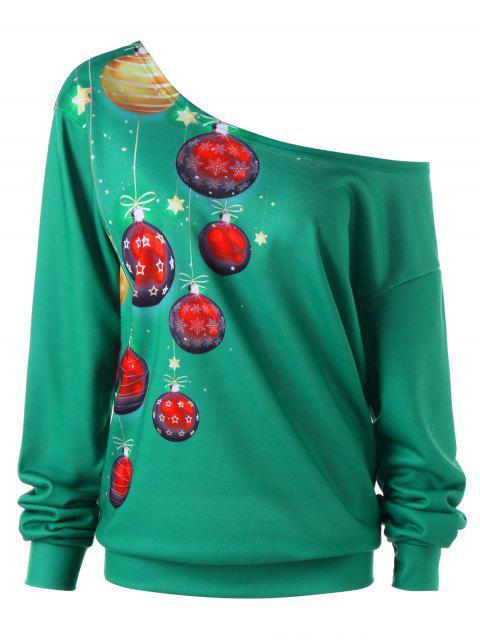 Plus-Größen-schiefes Kragen-WeihnachtsSweatshirt - Dunkelgrün 5XL Mobile