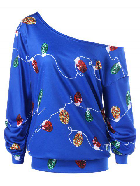 Weihnachten Plus Size String Light Skew Kragen Sweatshirt - Dunkel Blau 4XL Mobile