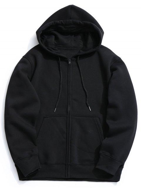 Sudadera con capucha y cremallera de bolsillo de lana de fleece - Negro L Mobile