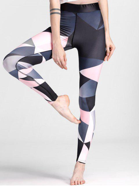 Color Block Geometric Yoga Leggings - Colores Mezclados M Mobile