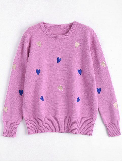 ladies Heart Embroidered Plus Size Sweater - TUTTI FRUTTI 4XL Mobile