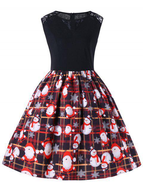 Robe Trapèze Sans Manches Motif Noël des années 50 Grande Taille - Rouge XL Mobile