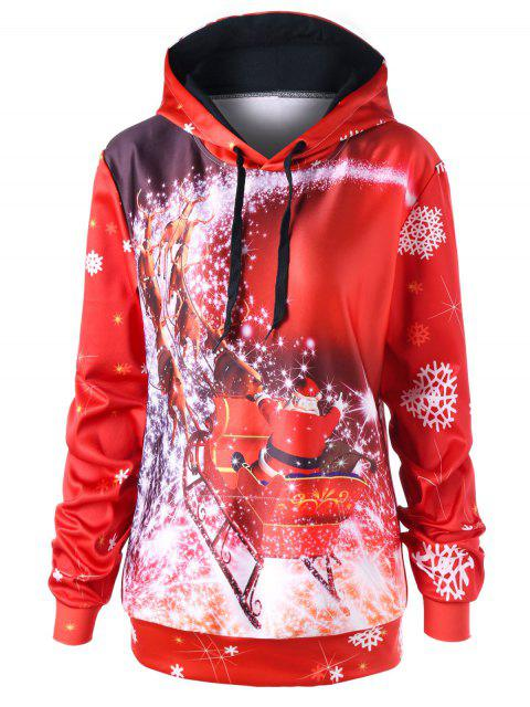 Weihnachten Plus Size Schlittentunika Hoodie - Rot 2XL Mobile