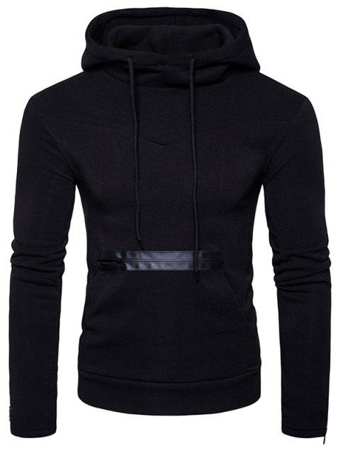 outfit Edging Zipper Fleece Pullover Hoodie - BLACK S Mobile