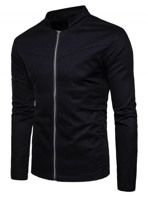 new Stand Collar Zipper Pockets Zip Up Jacket - BLACK S Mobile