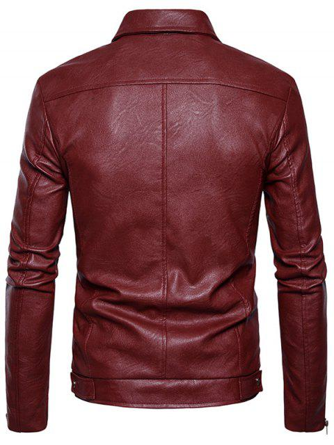 women's Turndown Collar Faux Leather Zip Up Jacket - RED L Mobile