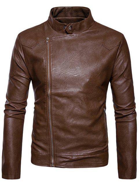 women Stand Collar Panel Design Faux Leather Zip Up Jacket - KHAKI M Mobile