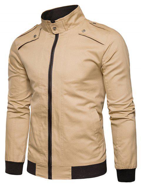lady Epaulet Design Rib Panel Zip Up Jacket - KHAKI 2XL Mobile