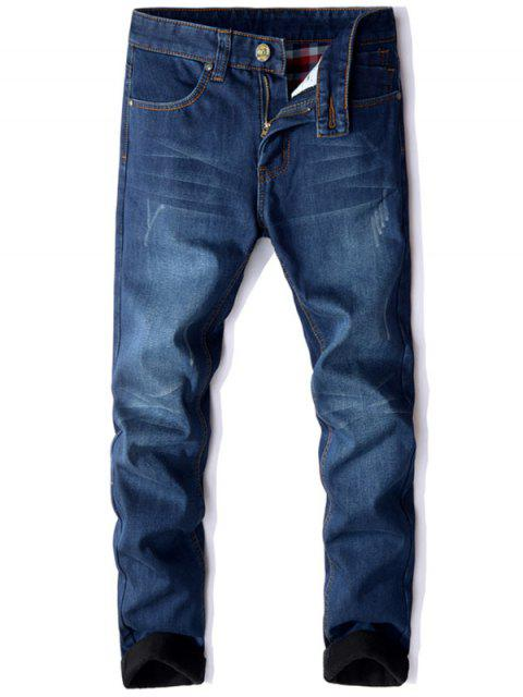 Zipper Fly Gerades Bein Beflockung Jeans - Blau 40 Mobile