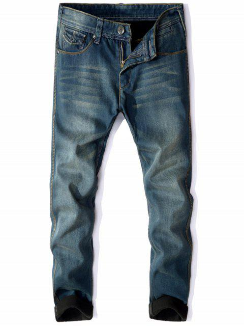shops Zip Fly Flocking Thermal Denim Pants - BLUE 38 Mobile