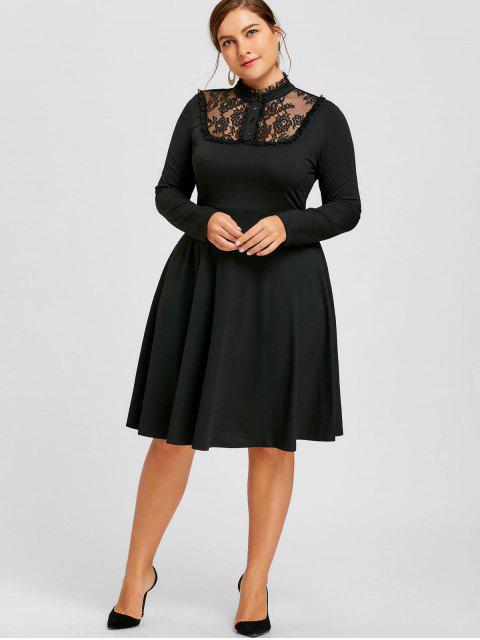 Robe Évasée à Lacets Effet en Dentelle Grande Taille - Noir 3XL Mobile