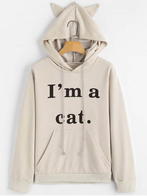 online Front Pocket Letter Graphic Cat Hoodie - APRICOT XS Mobile