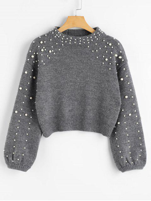 best Faux Pearl Mock Neck Sweater - GRAY M Mobile