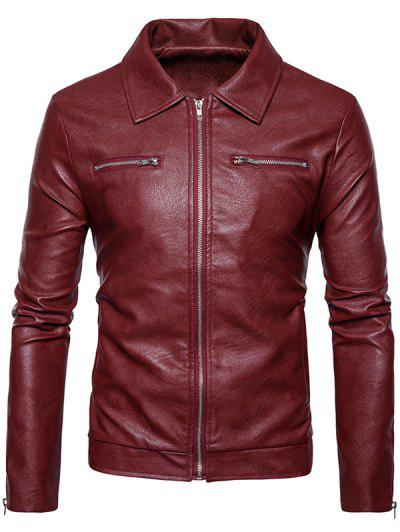0e0cb088d119 Turndown Collar Faux Leather Zip Up Jacket - Red L