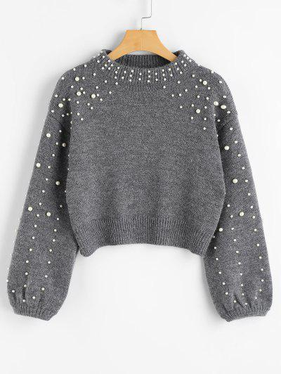 Faux Pearl Mock Neck Sweater - Gray L