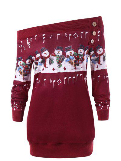 Christmas Plus Size Snowman Off The Shoulder Sweatshirt - Red 2xl