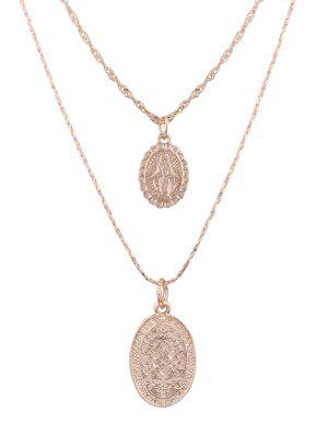 Alloy Engraved Goddess Oval Pendant Necklace Set