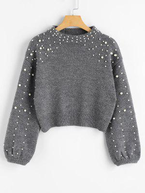 Faux Pearl Mock Neck Sweater - Gray L