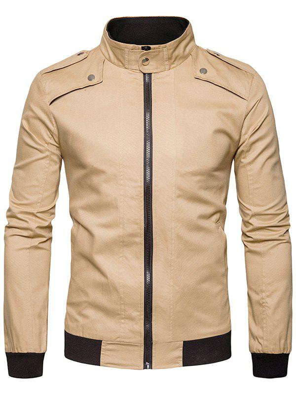 Epaulet Design Rib Panel Zip Up Jacket 234185202