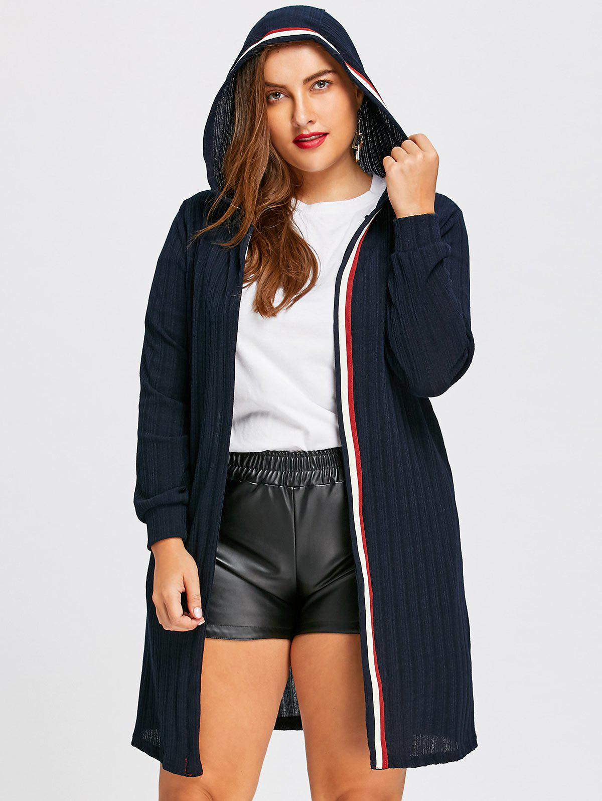 Plus Size Ribbed Longline Hooded Cardigan 233190002