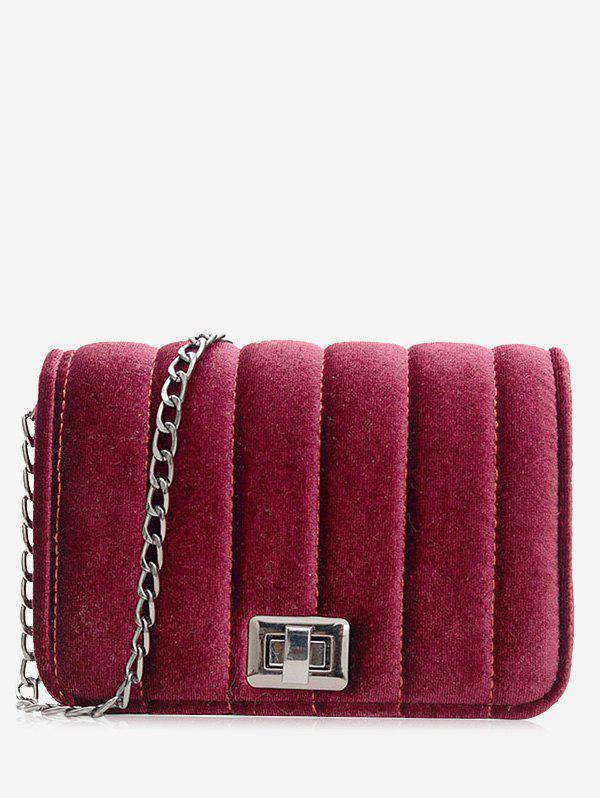 Chain Striped Hasp Crossbody Bag
