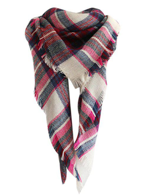 Image of Checked Pattern Faux Wool Fringed Shawl Scarf