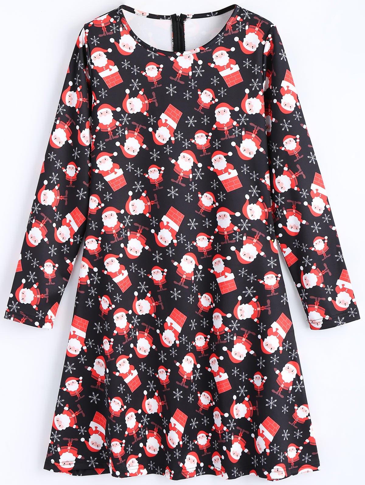 Santa Claus Long Sleeve Christmas Dress 234355003