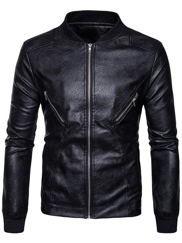 Stand Collar Rib Panel Zip Up PU Leather Jacket 234208705