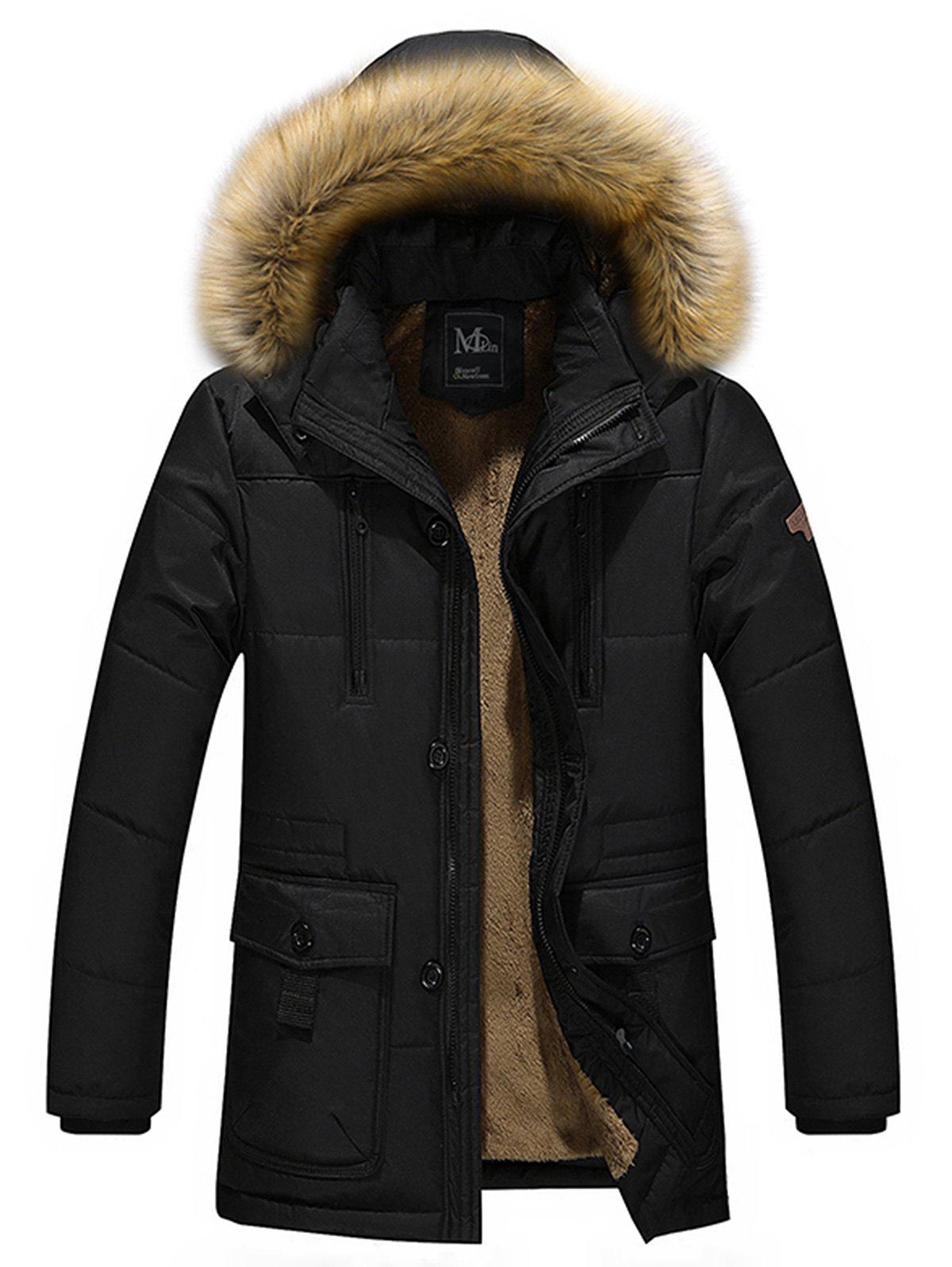 Artificial Fur Hooded Parka Jacket
