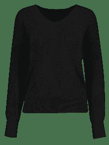 V Neck Distressed Pullover Sweater BLACK: Sweaters ONE SIZE | ZAFUL
