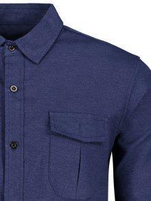 Bolsillo 2xl Dise De Camisa Azul o Parche De TRnpw