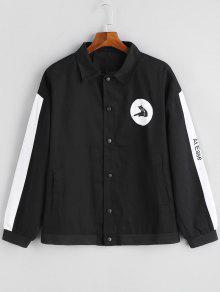 Chaqueta De Color Negro Con Botones - Negro L