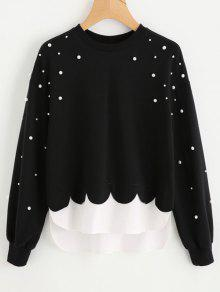 Faux Pearls Panel Scalloped Sweatshirt