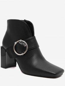 حذاء مزين بحزام ذو بكعب مكعب وشكل منحني - أسود 37