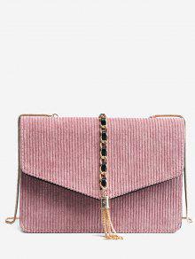 شرابة سلسلة جلد الغزال حقيبة كروسبودي - زهري