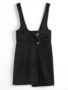 فستان مصغر مع حمالات - أسود S