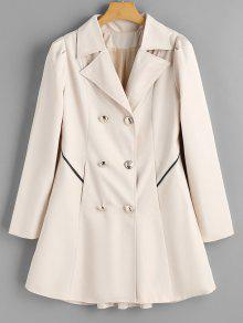 Buy Buttoned Tabs Double-breasted Skirted Coat - OFF-WHITE L