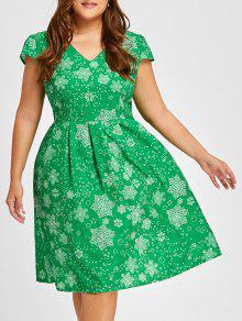 Vestido Largo Con Cuello En V De Navidad, Copo De Nieve - Verde 2xl