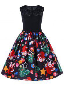 فستان ملائم وتوهج دانتيل بلا اكمام  - أسود M