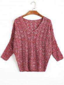 Open Knit Batwing Sleeve V Neck Sweater DARK RED: Sweaters ONE ...