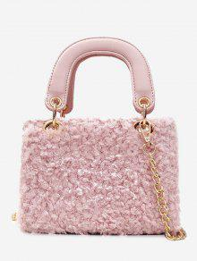 Chain Faux Fur Handbag With Strap Pink