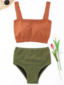 Conjunto De Bikini De Talle Alto De Punto - Naranja