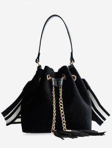 حقيبة يد بسلسلة مزينة بشرابات وحزام - أسود