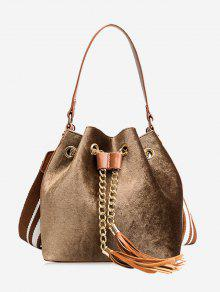 حقيبة يد بسلسلة مزينة بشرابات وحزام -