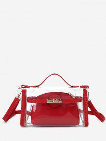 شفاف 2 قطع مجموعة حقيبة كروسبودي - أحمر