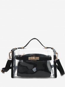 طقم حقيبة كروسبودي شفافة من قطعتين - أسود
