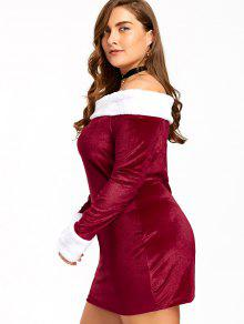 Christmas Plus Size Off The Shoulder Velvet Dress RED AND WHITE ...