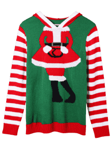 Christmas Plus Size Striped Hooded Knitwear RED AND GREEN: Plus ...