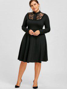 Vestido De Corte Recto Y Adorno En Encaje De Talla Grande - Negro 5xl
